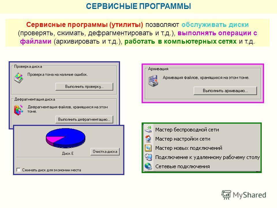СЕРВИСНЫЕ ПРОГРАММЫ Сервисные программы (утилиты) позволяют обслуживать диски (проверять, сжимать, дефрагментировать и т.д.), выполнять операции с файлами (архивировать и т.д.), работать в компьютерных сетях и т.д.