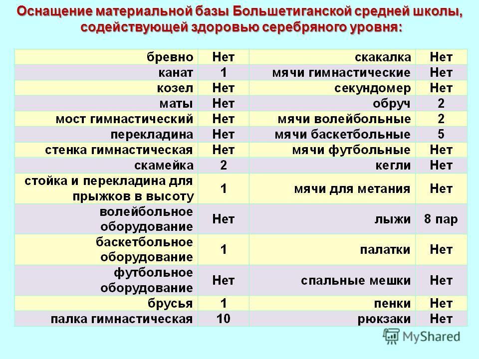 Оснащение материальной базы Большетиганской средней школы, содействующей здоровью серебряного уровня: содействующей здоровью серебряного уровня: