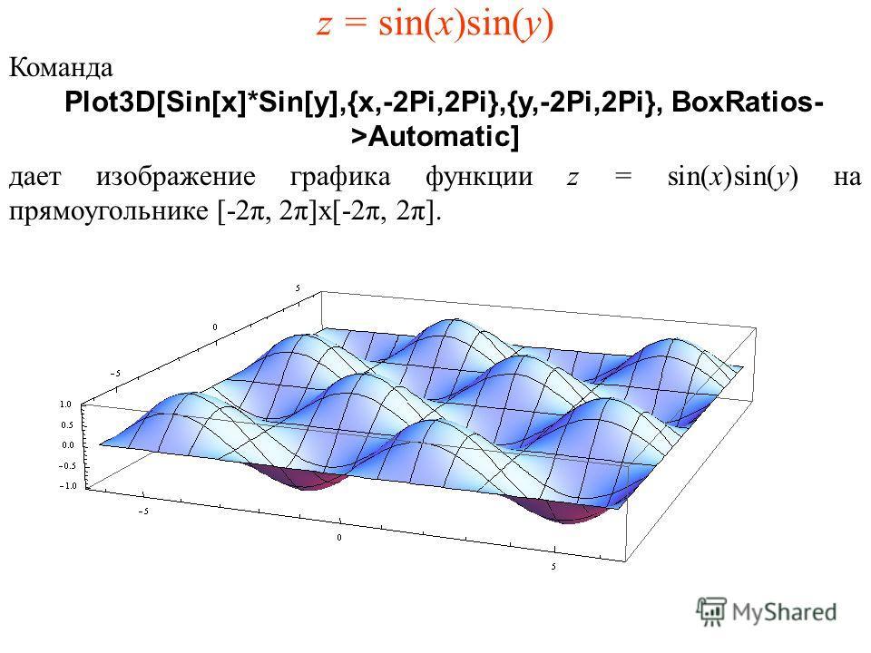 z = sin(x)sin(y) Команда Plot3D[Sin[x]*Sin[y],{x,-2Pi,2Pi},{y,-2Pi,2Pi}, BoxRatios- >Automatic] дает изображение графика функции z = sin(x)sin(y) на прямоугольнике [-2π, 2π]x[-2π, 2π].