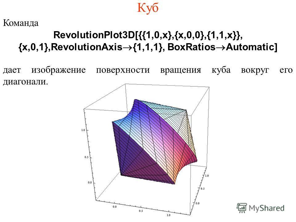 Куб Команда RevolutionPlot3D[{{1,0,x},{x,0,0},{1,1,x}}, {x,0,1},RevolutionAxis®{1,1,1}, BoxRatios®Automatic] дает изображение поверхности вращения куба вокруг его диагонали.