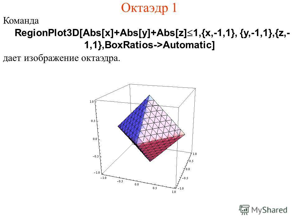 Октаэдр 1 Команда RegionPlot3D[Abs[x]+Abs[y]+Abs[z]Ј1,{x,-1,1}, {y,-1,1},{z,- 1,1},BoxRatios->Automatic] дает изображение октаэдра.