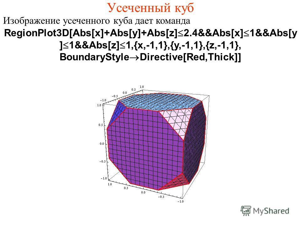 Усеченный куб Изображение усеченного куба дает команда RegionPlot3D[Abs[x]+Abs[y]+Abs[z]Ј2.4&&Abs[x]Ј1&&Abs[y ]Ј1&&Abs[z]Ј1,{x,-1,1},{y,-1,1},{z,-1,1}, BoundaryStyle®Directive[Red,Thick]]