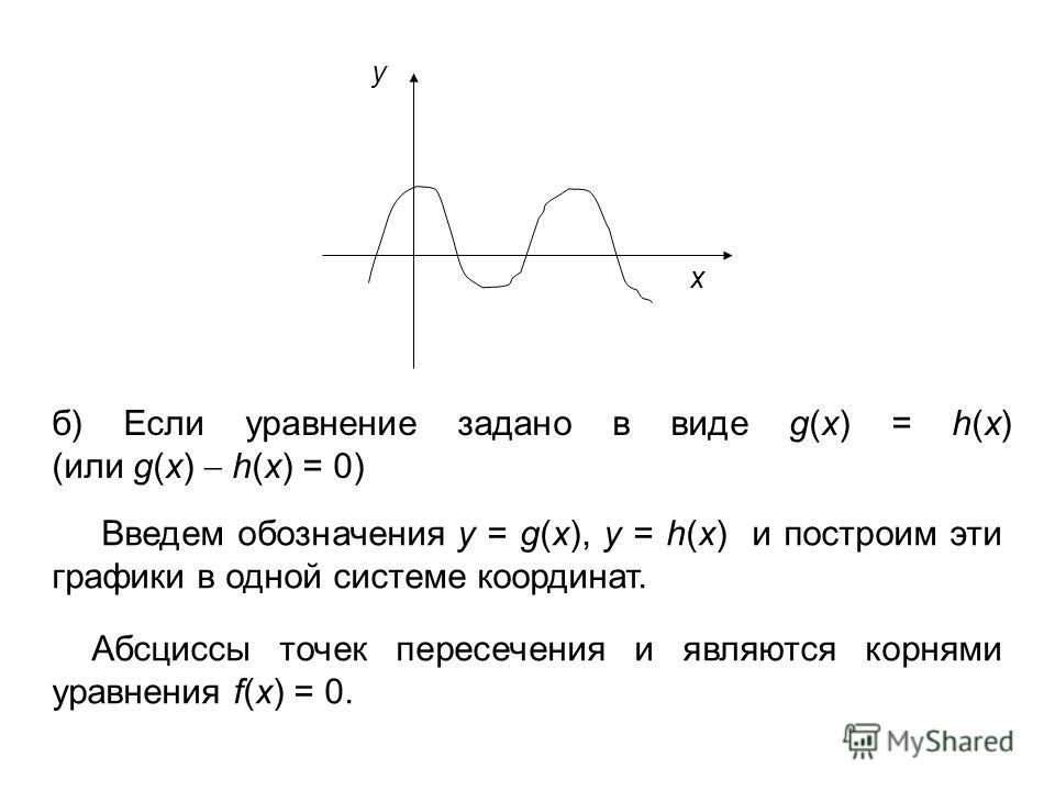 y x б) Если уравнение задано в виде g(x) = h(x) (или g(x) h(x) = 0) Введем обозначения y = g(x), y = h(x) и построим эти графики в одной системе координат. Абсциссы точек пересечения и являются корнями уравнения f(x) = 0.
