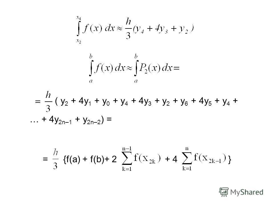 ( y 2 + 4y 1 + y 0 + y 4 + 4y 3 + y 2 + y 6 + 4y 5 + y 4 + … + 4y 2n–1 + y 2n–2 ) = = {f(a) + f(b)+ 2 + 4 }