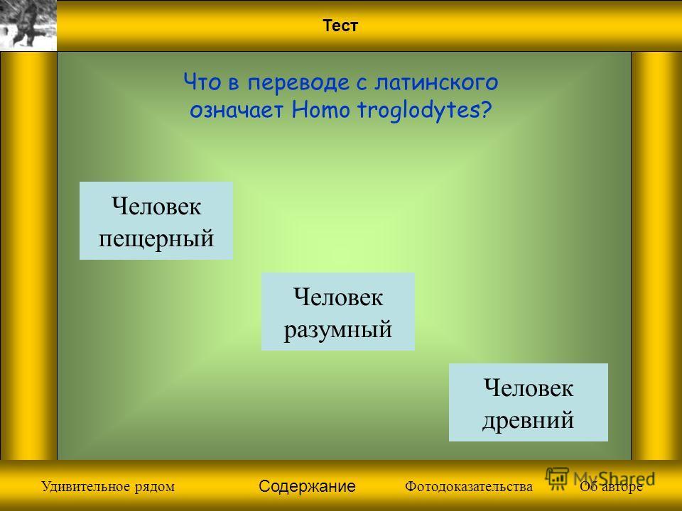 Фотодоказательства Что в переводе с латинского означает Homo troglodytes? Человек разумный Человек пещерный Человек древний Содержание Об автореУдивительное рядом
