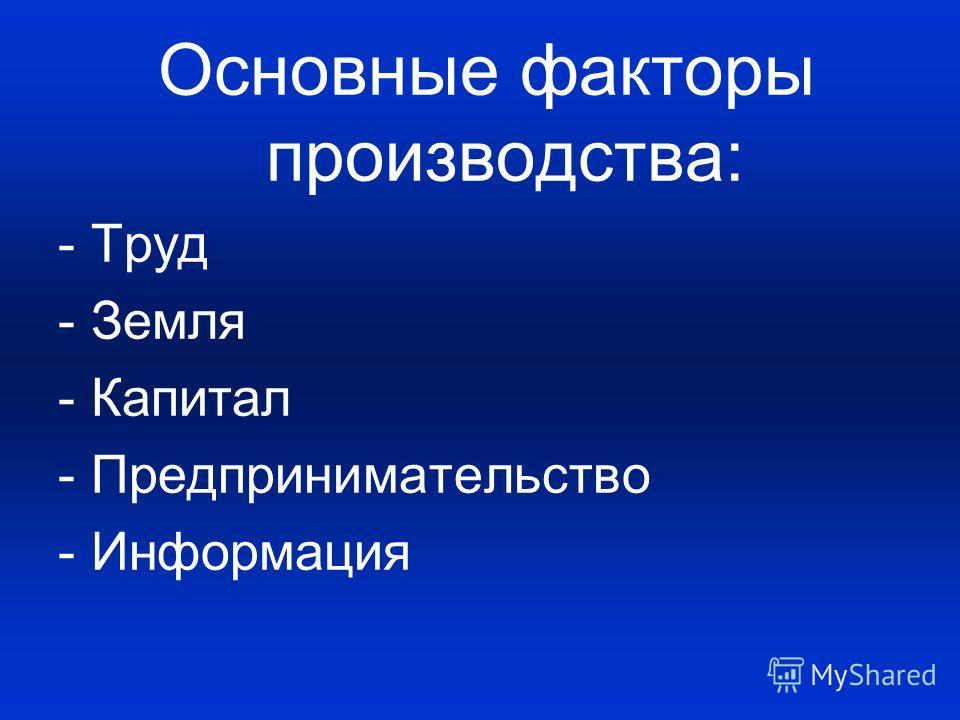 Основные факторы производства: - Труд - Земля - Капитал - Предпринимательство - Информация