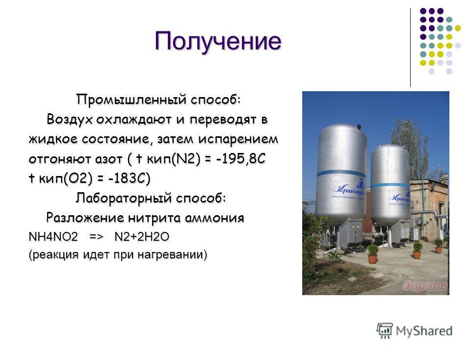 Получение Промышленный способ: Воздух охлаждают и переводят в Воздух охлаждают и переводят в жидкое состояние, затем испарением отгоняют азот ( t кип(N2) = -195,8C t кип(О2) = -183С) Лабораторный способ: Разложение нитрита аммония NH4NO2 => N2+2H2O (