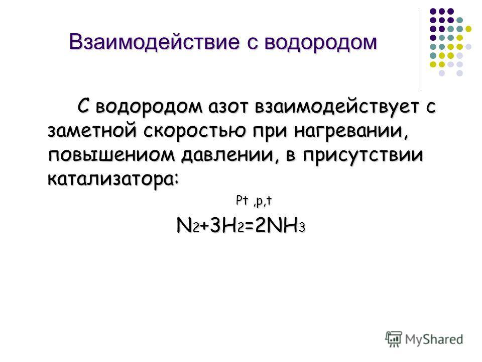 Взаимодействие с водородом С водородом азот взаимодействует с заметной скоростью при нагревании, повышениом давлении, в присутствии катализатора: Рt,р,t Рt,р,t N 2 +3H 2 =2NH 3