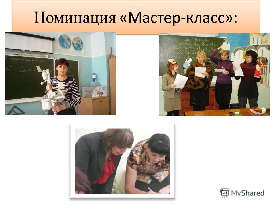 Номинация «Мастер-класс»: