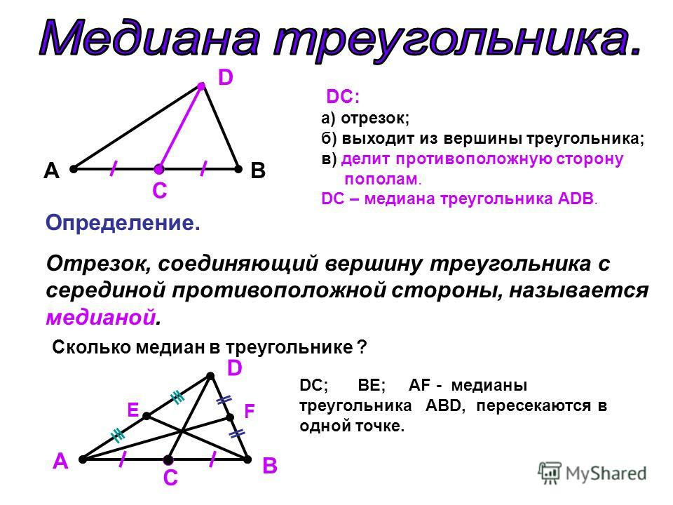 A C B D DC: а) отрезок; б) выходит из вершины треугольника; в) делит противоположную сторону пополам. DС – медиана треугольника АDВ. Определение. Отрезок, соединяющий вершину треугольника с серединой противоположной стороны, называется медианой. Скол
