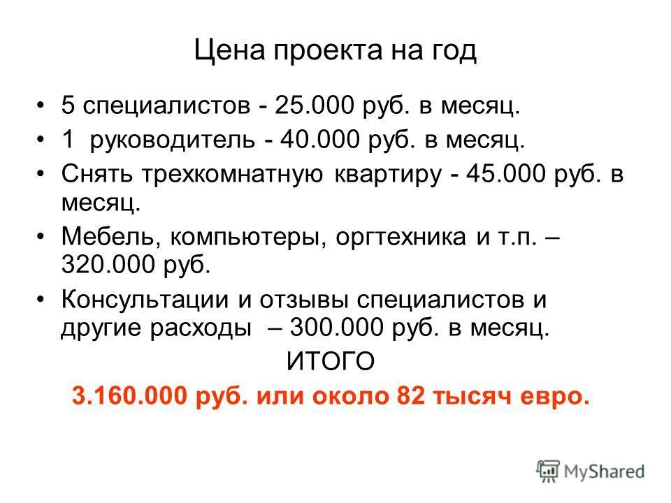 Цена проекта на год 5 специалистов - 25.000 руб. в месяц. 1 руководитель - 40.000 руб. в месяц. Снять трехкомнатную квартиру - 45.000 руб. в месяц. Мебель, компьютеры, оргтехника и т.п. – 320.000 руб. Консультации и отзывы специалистов и другие расхо