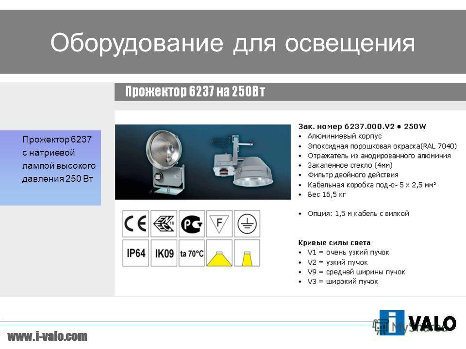 www.i-valo.com Оборудование для освещения Прожектор 6237 c натриевой лампой высокого давления 250 Вт