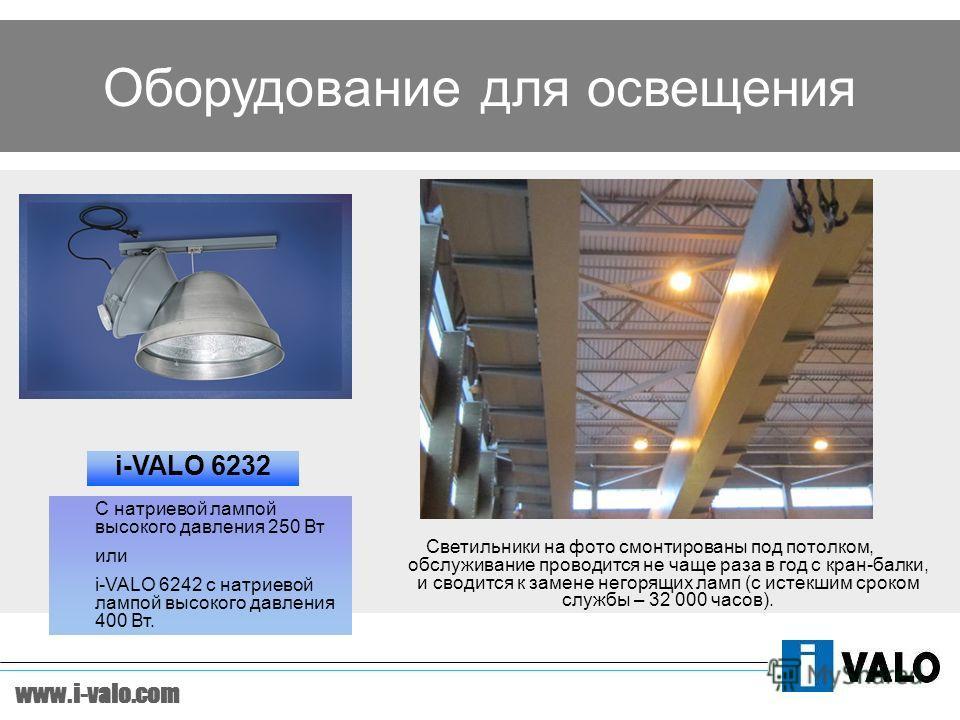 www.i-valo.com Оборудование для освещения i-VALO 6232 Светильники на фото смонтированы под потолком, обслуживание проводится не чаще раза в год с кран-балки, и сводится к замене негорящих ламп (с истекшим сроком службы – 32 000 часов). С натриевой ла