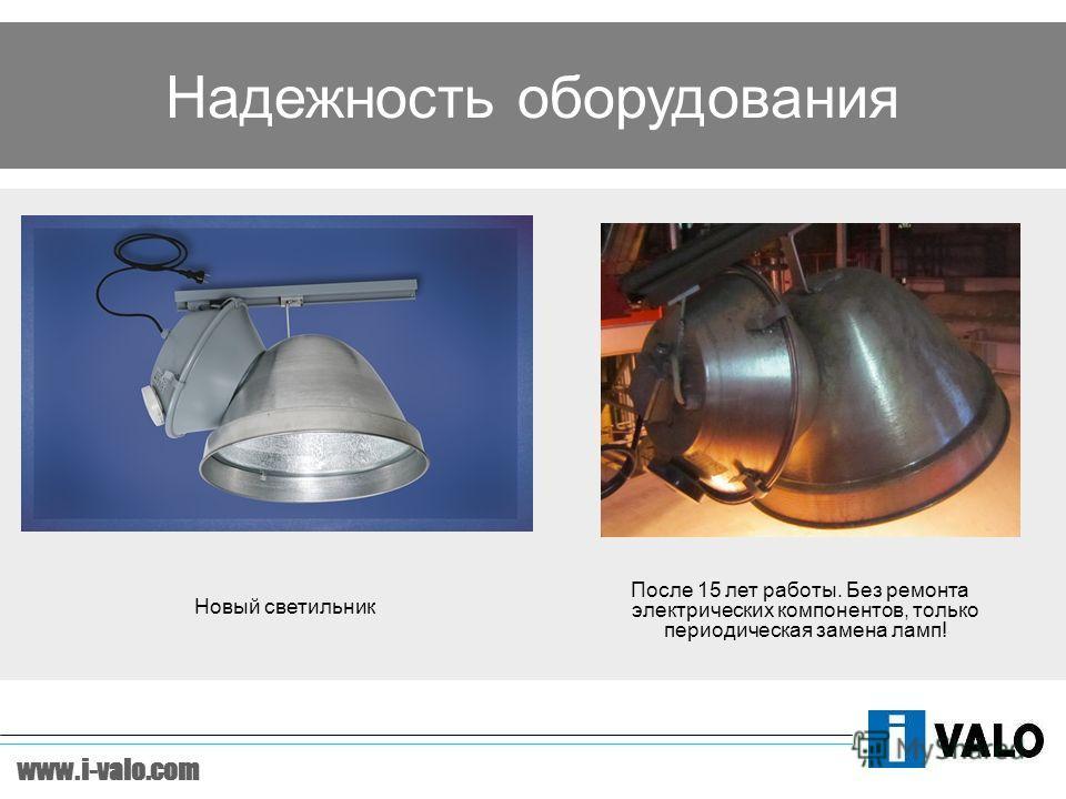 www.i-valo.com Надежность оборудования После 15 лет работы. Без ремонта электрических компонентов, только периодическая замена ламп! Новый светильник