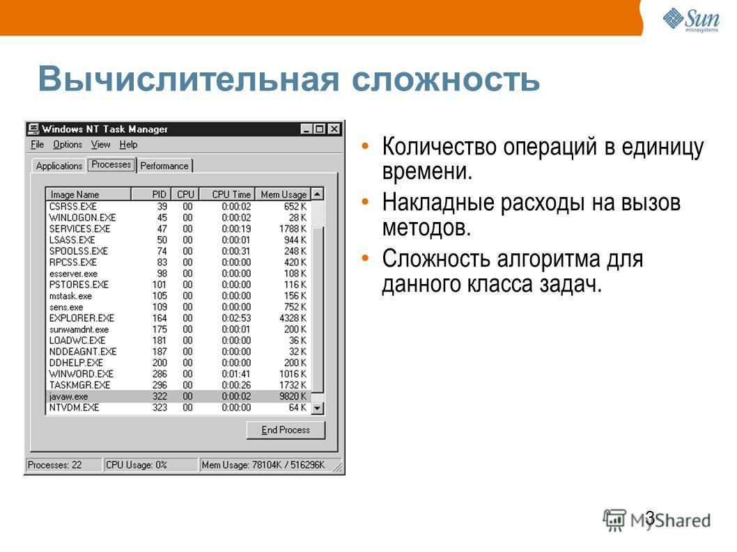 3 Вычислительная сложность Количество операций в единицу времени. Накладные расходы на вызов методов. Сложность алгоритма для данного класса задач.