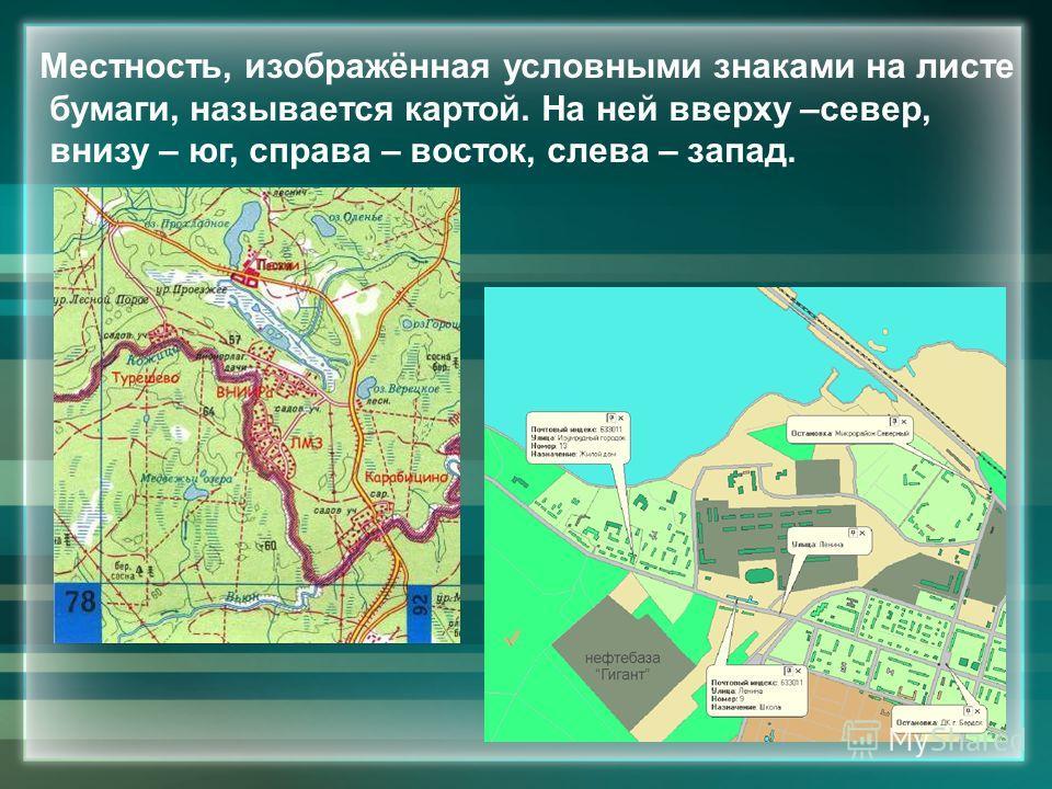 Местность, изображённая условными знаками на листе бумаги, называется картой. На ней вверху –север, внизу – юг, справа – восток, слева – запад.