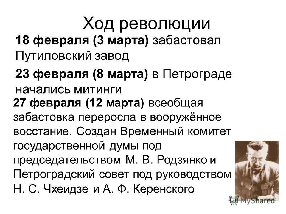 Ход революции 18 февраля (3 марта) забастовал Путиловский завод 23 февраля (8 марта) в Петрограде начались митинги 27 февраля (12 марта) всеобщая забастовка переросла в вооружённое восстание. Создан Временный комитет государственной думы под председа
