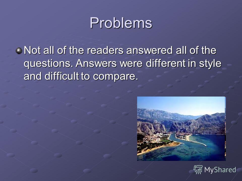 Problems Not all of the readers answered all of the questions. Answers were different in style and difficult to compare.