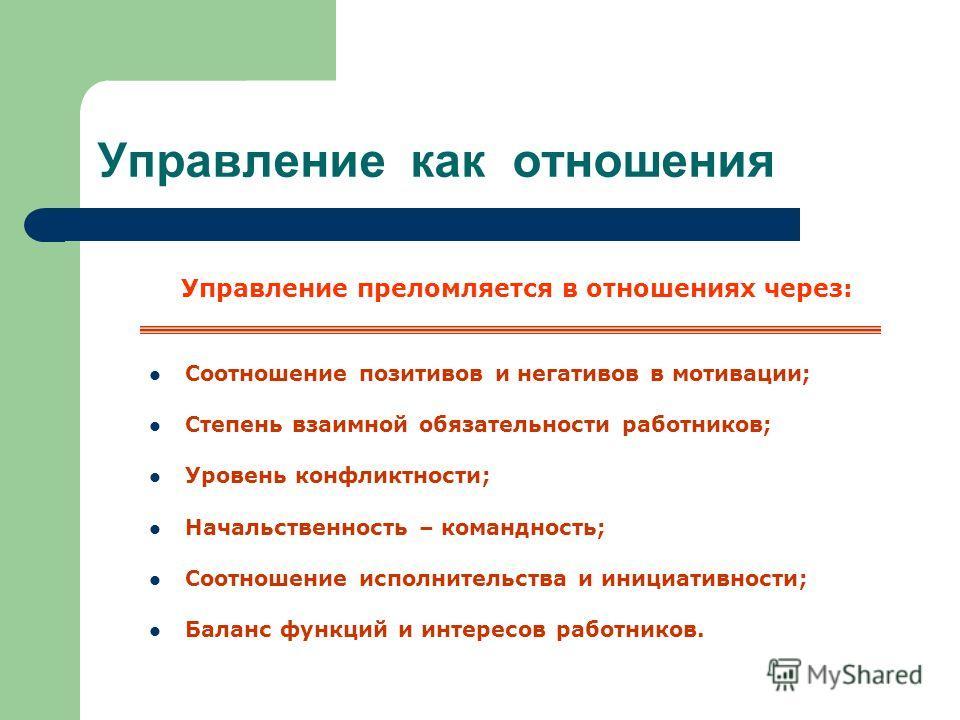 Управление как отношения Управление преломляется в отношениях через: Соотношение позитивов и негативов в мотивации; Степень взаимной обязательности работников; Уровень конфликтности; Начальственность – командность; Соотношение исполнительства и иници