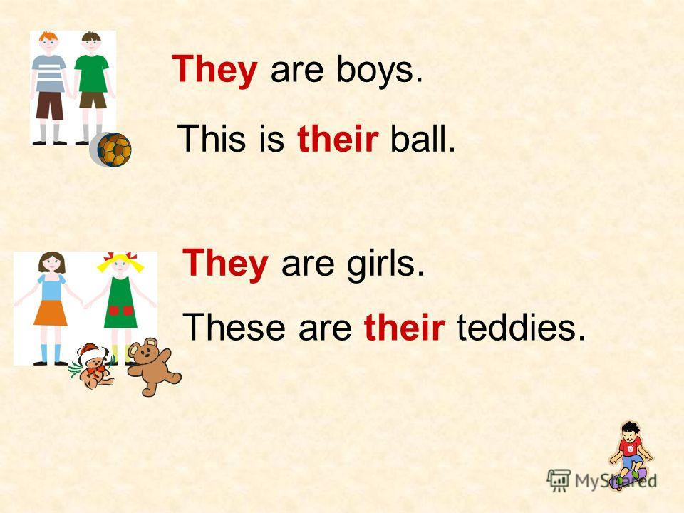 They are boys. This is their ball. They are girls. These are their teddies.