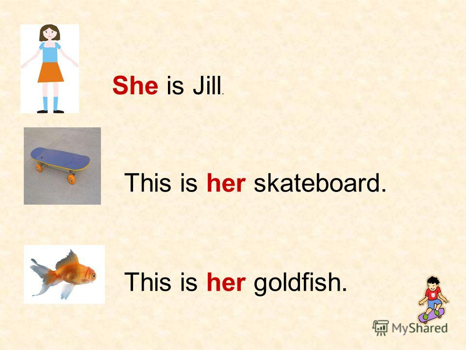 She is Jill. This is her skateboard. This is her goldfish.