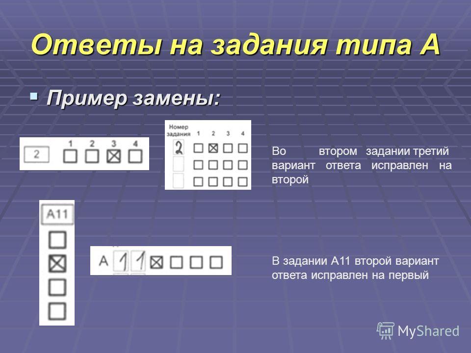 Ответы на задания типа А Пример замены: Пример замены: Вовторомзаданиитретий вариант ответа исправлен на второй В задании А11 второй вариант ответа исправлен на первый