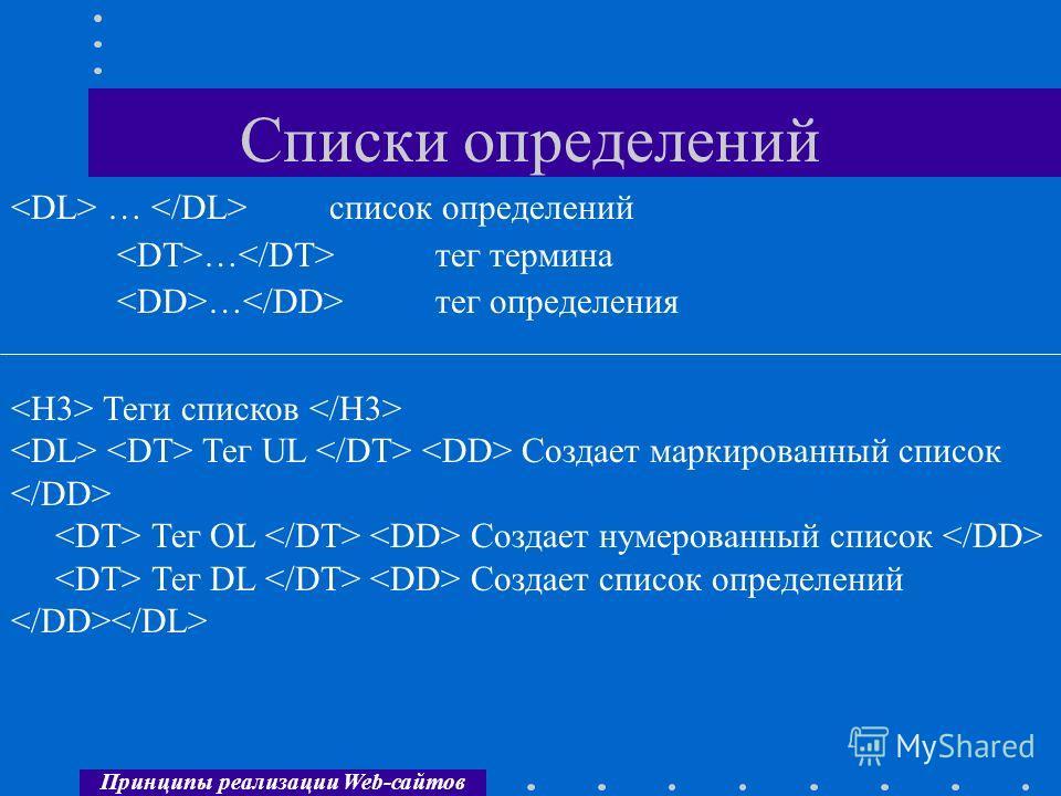 Принципы реализации Web-сайтов Списки определений … список определений … тег термина … тег определения Теги списков Тег UL Создает маркированный список Тег OL Создает нумерованный список Тег DL Создает список определений
