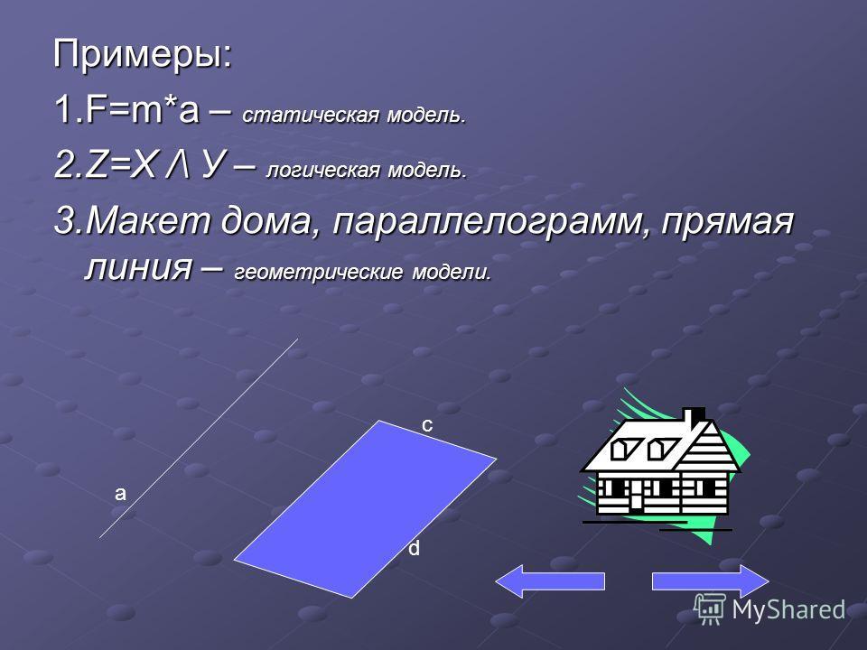 Примеры: 1.F=m*a – статическая модель. 2.Z=X /\ У – логическая модель. 3.Макет дома, параллелограмм, прямая линия – геометрические модели. a d c