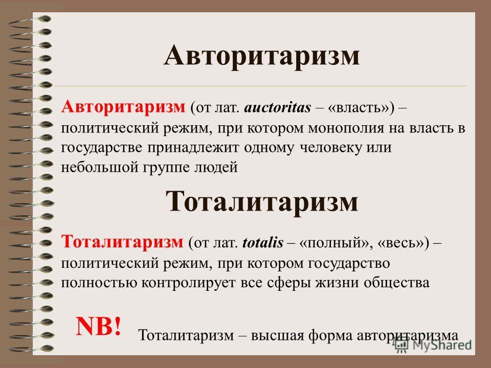 Авторитаризм Авторитаризм (от лат. auctoritas – «власть») – политический режим, при котором монополия на власть в государстве принадлежит одному человеку или небольшой группе людей Тоталитаризм Тоталитаризм (от лат. totalis – «полный», «весь») – поли