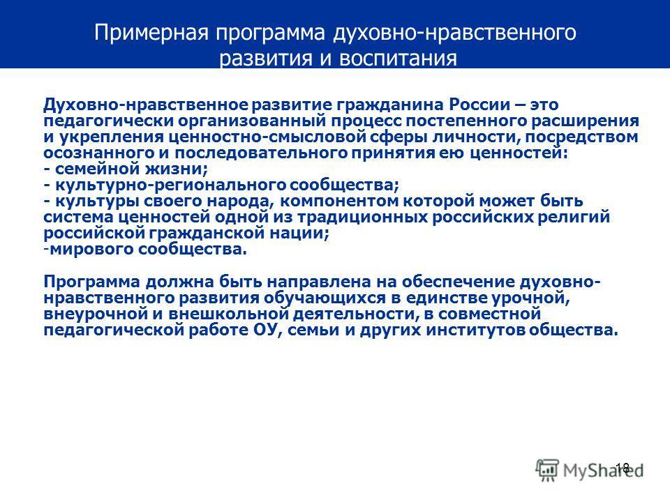 18 Примерная программа духовно-нравственного развития и воспитания Духовно-нравственное развитие гражданина России – это педагогически организованный процесс постепенного расширения и укрепления ценностно-смысловой сферы личности, посредством осознан