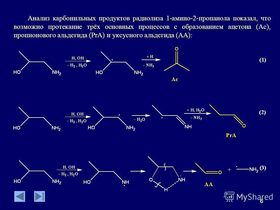 66 Анализ карбонильных продуктов радиолиза 1-амино-2-пропанола показал, что возможно протекание трёх основных процессов с образованием ацетона (Ac), пропионового альдегида (PrA) и уксусного альдегида (AA):