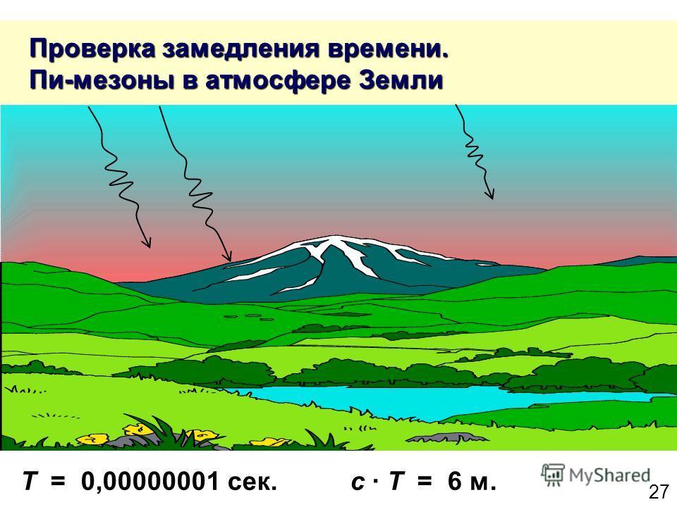 27 Проверка замедления времени. Пи-мезоны в атмосфере Земли Проверка замедления времени. Пи-мезоны в атмосфере Земли T = 0,00000001 сек. с T = 6 м.