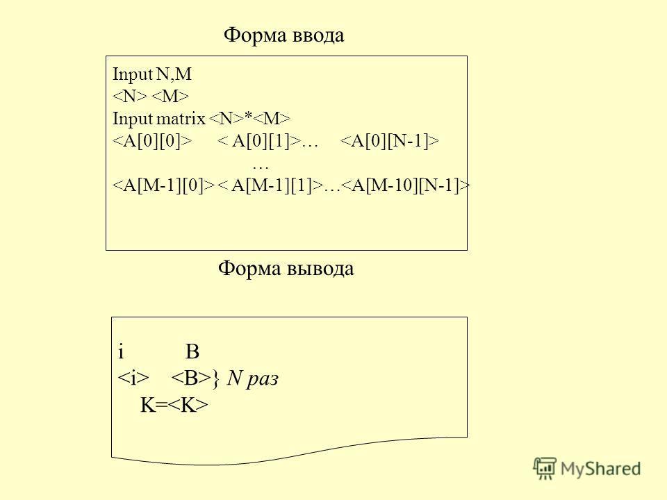 Форма ввода Input N,M Input matrix * … Форма вывода i B } N раз K=