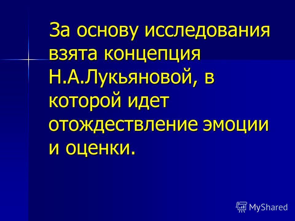За основу исследования взята концепция Н.А.Лукьяновой, в которой идет отождествление эмоции и оценки. За основу исследования взята концепция Н.А.Лукьяновой, в которой идет отождествление эмоции и оценки.