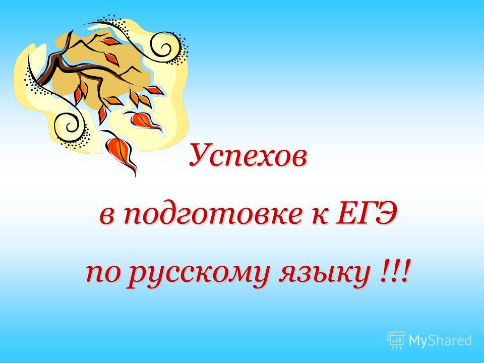 Успехов в подготовке к ЕГЭ по русскому языку !!!