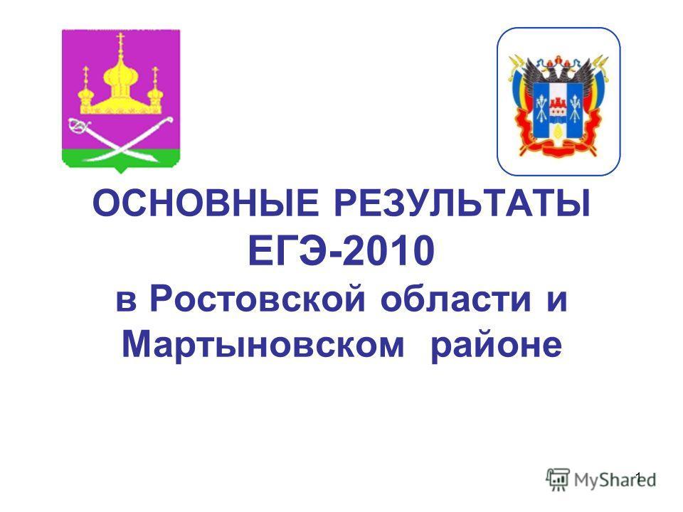 1 ОСНОВНЫЕ РЕЗУЛЬТАТЫ ЕГЭ-2010 в Ростовской области и Мартыновском районе