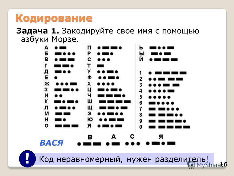 16 Кодирование Задача 1. Закодируйте свое имя с помощью азбуки Морзе. ВАСЯ Код неравномерный, нужен разделитель! !