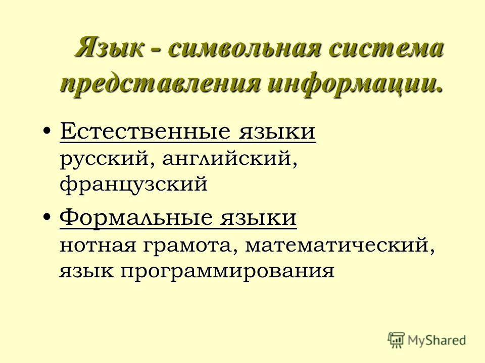 Язык - символьная система представления информации. Естественные языки русский, английский, французскийЕстественные языки русский, английский, французский Формальные языки нотная грамота, математический, язык программированияФормальные языки нотная г