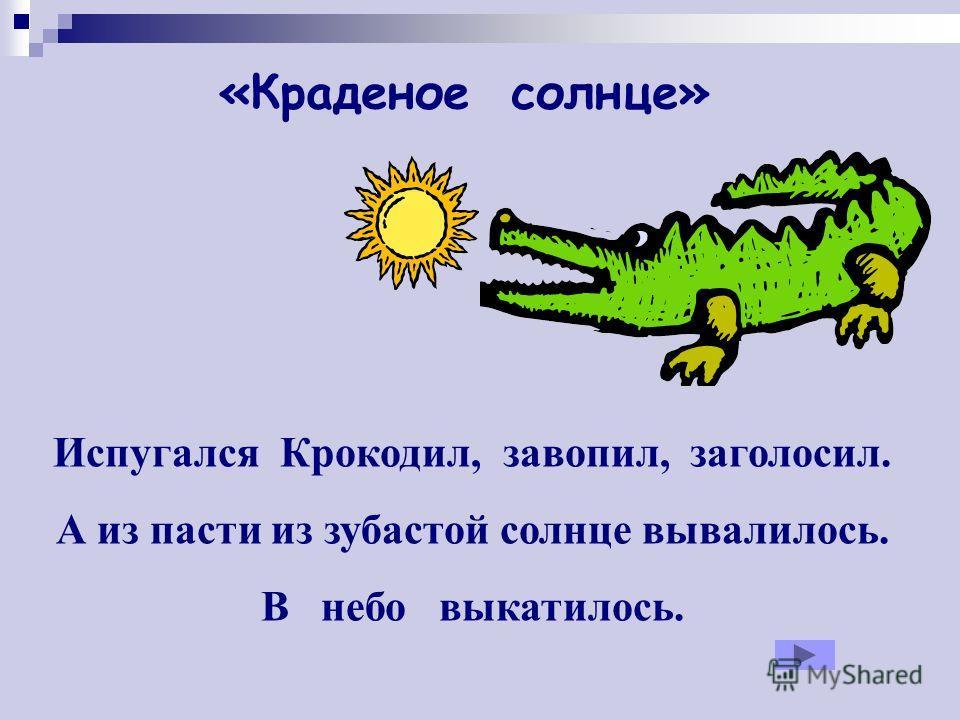 Испугался Крокодил, завопил, заголосил. А из пасти из зубастой солнце вывалилось. В небо выкатилось. «Краденое солнце»