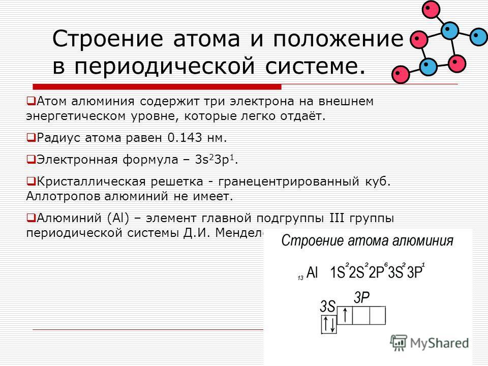 Строение атома и положение в периодической системе. Атом алюминия содержит три электрона на внешнем энергетическом уровне, которые легко отдаёт. Радиус атома равен 0.143 нм. Электронная формула – 3s 2 3p 1. Кристаллическая решетка - гранецентрированн