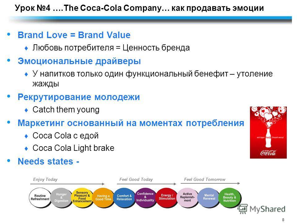 8 Урок 4 ….The Coca-Cola Company… как продавать эмоции Brand Love = Brand Value Любовь потребителя = Ценность бренда Эмоциональные драйверы У напитков только один функциональный бенефит – утоление жажды Рекрутирование молодежи Catch them young Маркет