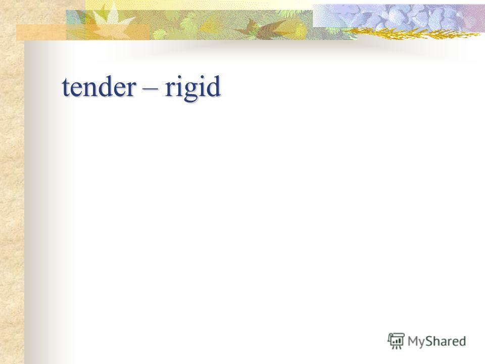 tender – rigid