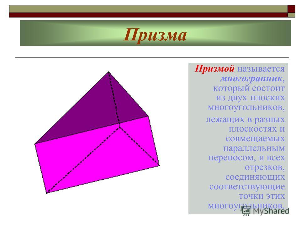 Призма Призмой называется многогранник, который состоит из двух плоских многоугольников, лежащих в разных плоскостях и совмещаемых параллельным переносом, и всех отрезков, соединяющих соответствующие точки этих многоугольников.