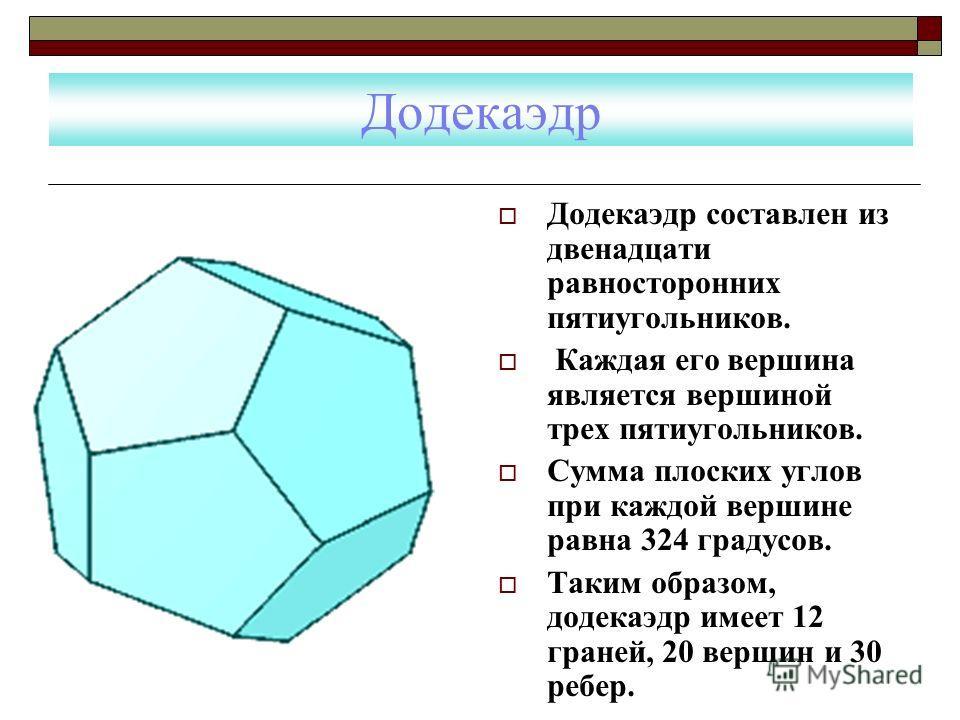 Додекаэдр Додекаэдр составлен из двенадцати равносторонних пятиугольников. Каждая его вершина является вершиной трех пятиугольников. Сумма плоских углов при каждой вершине равна 324 градусов. Таким образом, додекаэдр имеет 12 граней, 20 вершин и 30 р