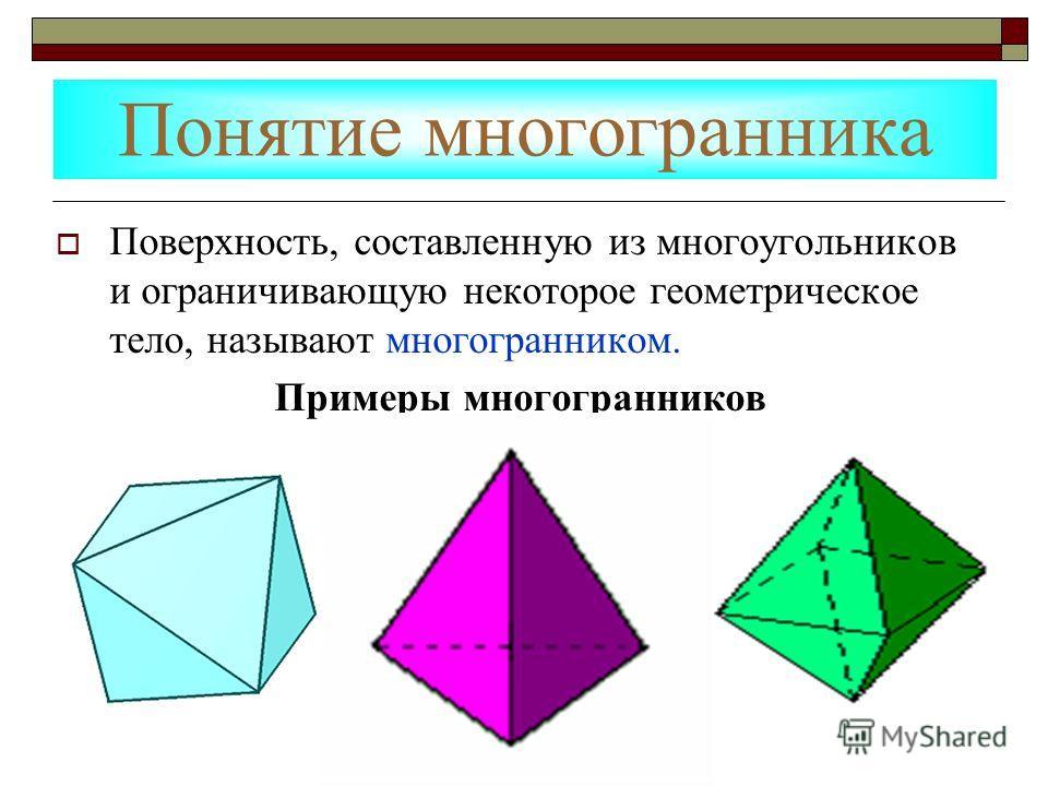 Понятие многогранника Поверхность, составленную из многоугольников и ограничивающую некоторое геометрическое тело, называют многогранником. Примеры многогранников