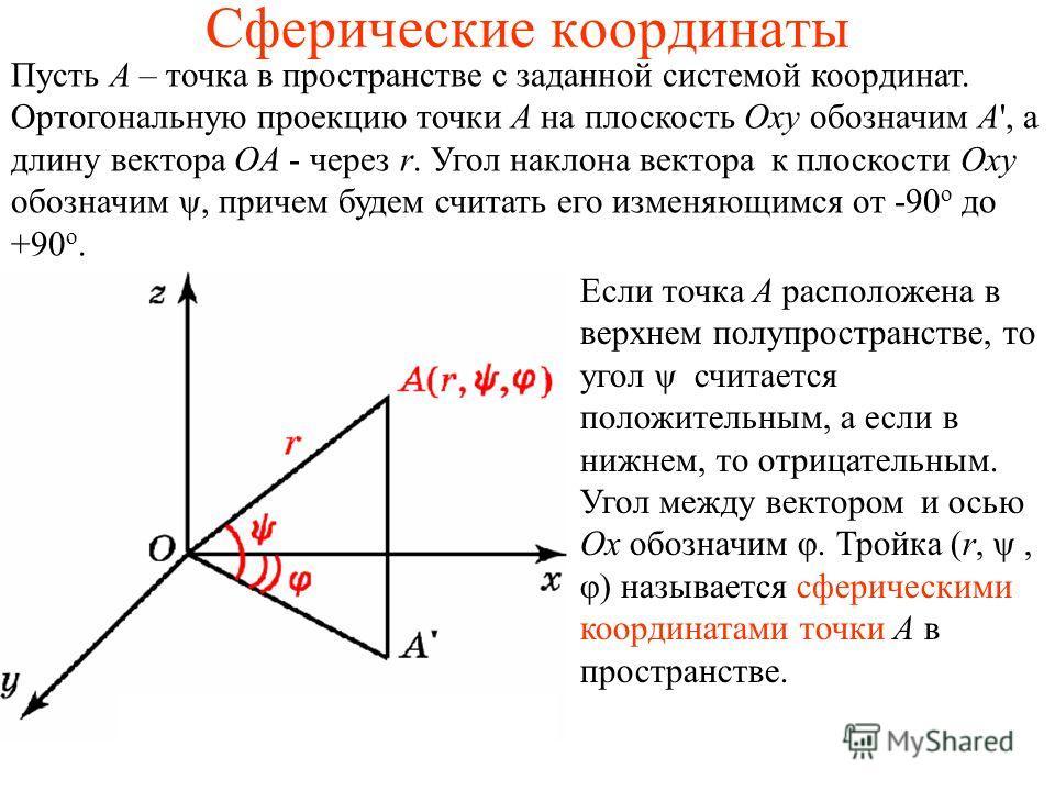 Сферические координаты Пусть A – точка в пространстве с заданной системой координат. Ортогональную проекцию точки A на плоскость Oxy обозначим A', а длину вектора ОA - через r. Угол наклона вектора к плоскости Оxy обозначим ψ, причем будем считать ег