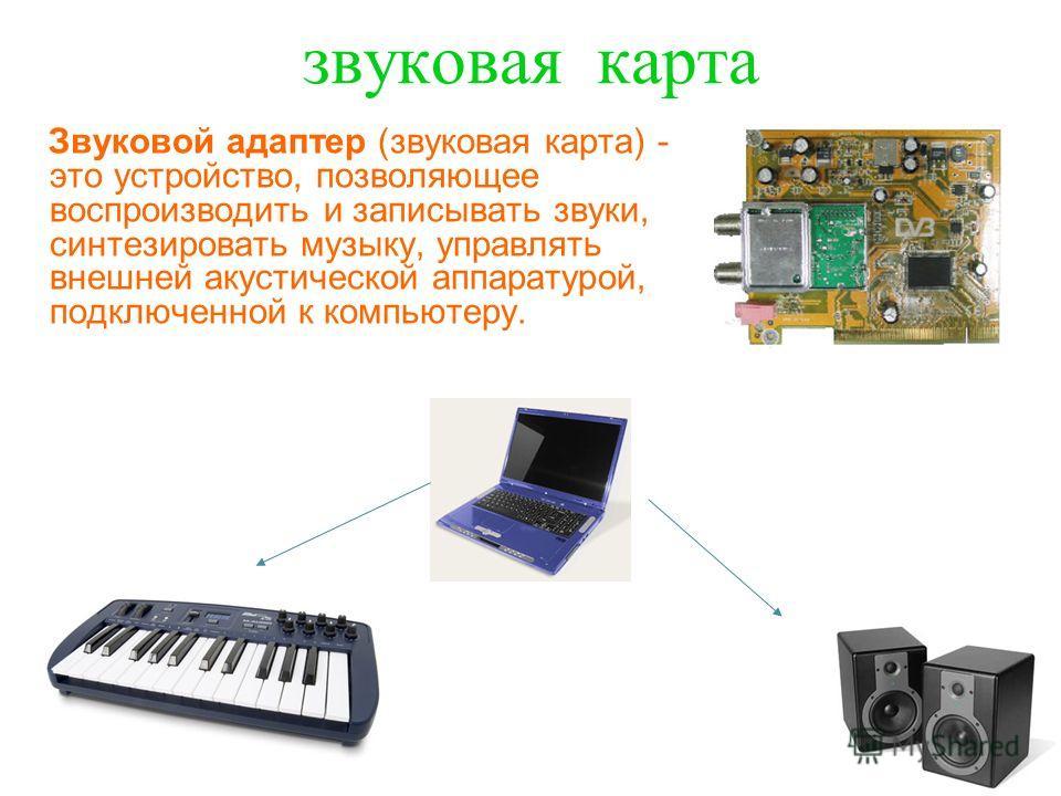 звуковая к арта Звуковой адаптер (звуковая карта) - это устройство, позволяющее воспроизводить и записывать звуки, синтезировать музыку, управлять внешней акустической аппаратурой, подключенной к компьютеру.