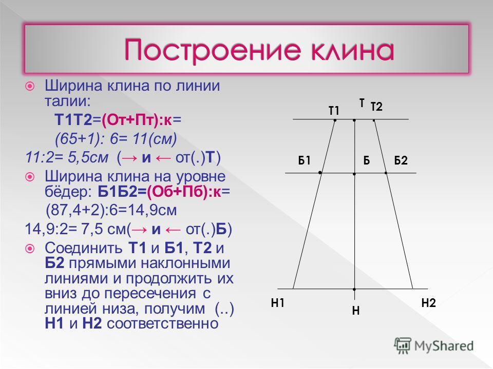 Ширина клина по линии талии: Т1Т2=(От+Пт):к= (65+1): 6= 11(см) 11:2= 5,5см ( и от(.)Т) Ширина клина на уровне бёдер: Б1Б2=(Об+Пб):к= (87,4+2):6=14,9см 14,9:2= 7,5 см( и от(.)Б) Соединить Т1 и Б1, Т2 и Б2 прямыми наклонными линиями и продолжить их вни