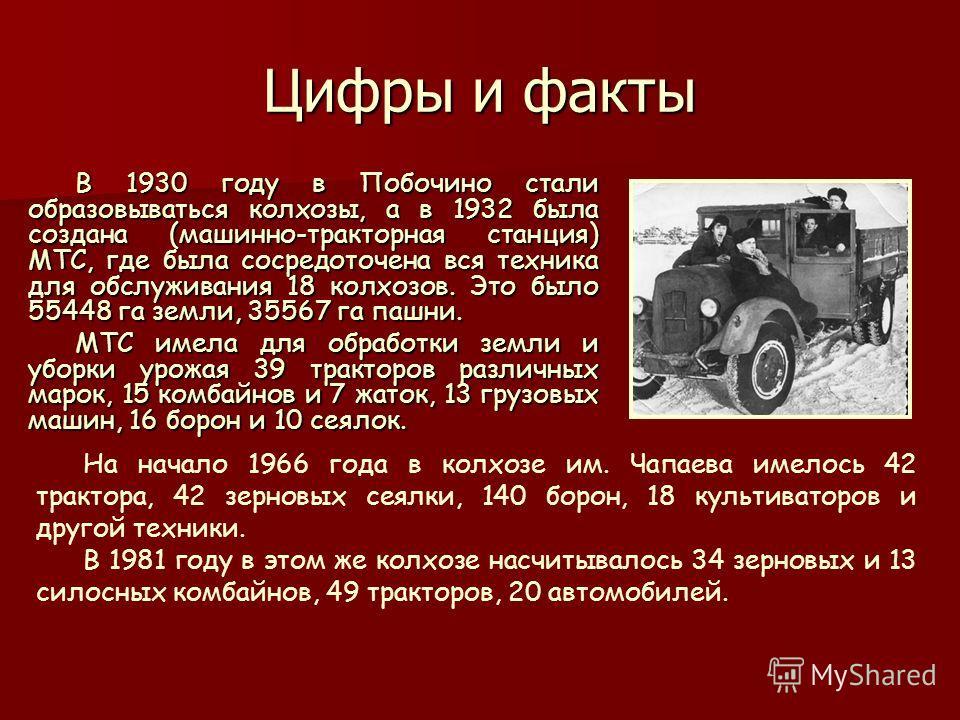 Цифры и факты В 1930 году в Побочино стали образовываться колхозы, а в 1932 была создана (машинно-тракторная станция) МТС, где была сосредоточена вся техника для обслуживания 18 колхозов. Это было 55448 га земли, 35567 га пашни. МТС имела для обработ