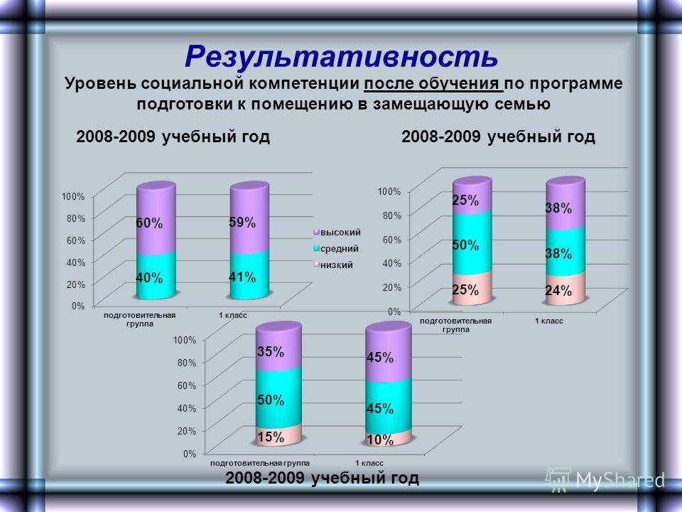 Результативность Уровень социальной компетенции после обучения по программе подготовки к помещению в замещающую семью 2008-2009 учебный год